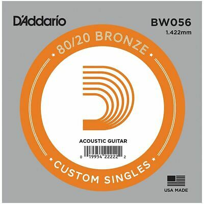 D'addario Single Acoustic Guitar String - Bw056 - 80/20 Bronze Wound - .056