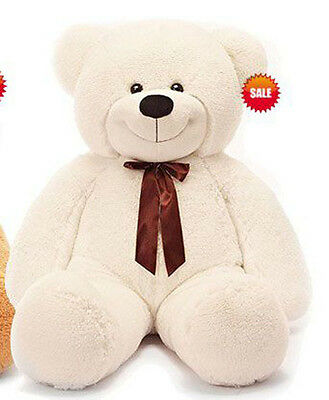 120cm Tall Giant Huge Stuffed Cuddly Teddy Bears Plush Doll Great Gift White