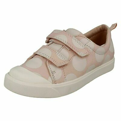 Girls Clarks 'City Flare Lo T' Pink Hook & Loop Strap Casual Canvas Pumps
