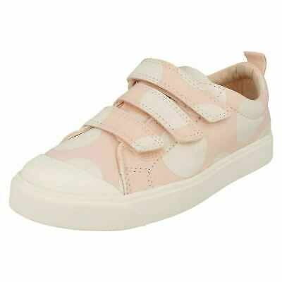 Girls Clarks 'City Flare Lo K' Pink Hook & Loop Strap Casual Canvas Pumps