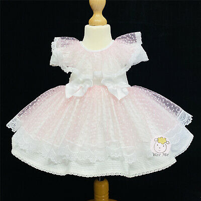 Beautiful Wee Me Baby Girl Pink Spanish Puff Ball Lace Dress Lace Collar Romany