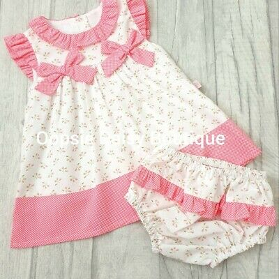 Girls Spanish Pink & White Double Bow Dress Sets 3-24 Months