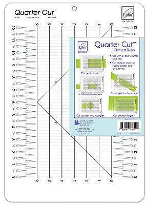 June Tailor 11 1/4 x 16-inch Quarter Cut Slotted Ruler for Quilting/Patchwork