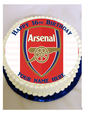 """ARSENAL FOOTBALL Personalised 7.5"""" Edible Cup Cake Topper Icing Or Wafer PRECUT"""