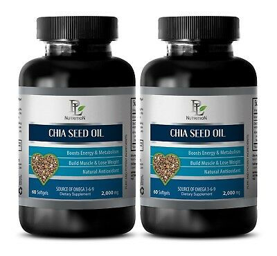 fat fader - CHIA SEED OIL 2000MG - chia seed extract - 2 Bottles