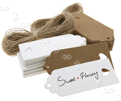 100X Brown/White Strings Heart Kraft Paper Hang Tags Gift Price Cards 9 X4cm