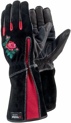 Ladies leather gauntlet gardening gloves brambles thorns beautiful design Latex
