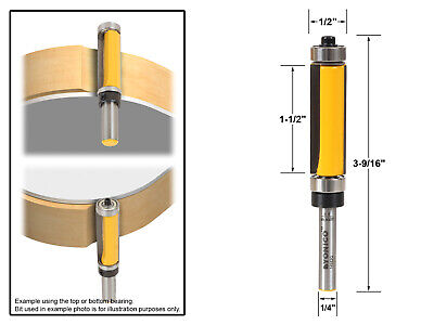 "1-1/2"" Flush Trim Top and Bottom Bearing Router Bit - 1/4"" Shank - Yonico 14982q"