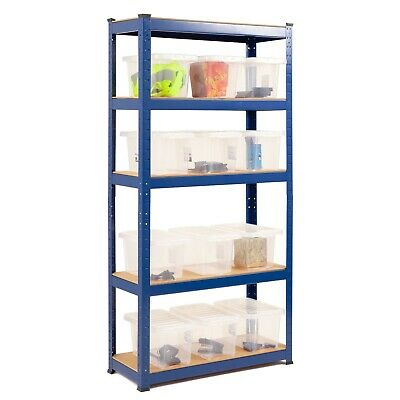 Economy Garage Shelving With 12 6.5LTR Crystal Clear Storage Boxes