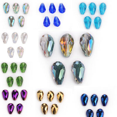 10Pcs Charms Faceted Glass Crystal Teardrop Spacer Loose Beads Making 18x12mm