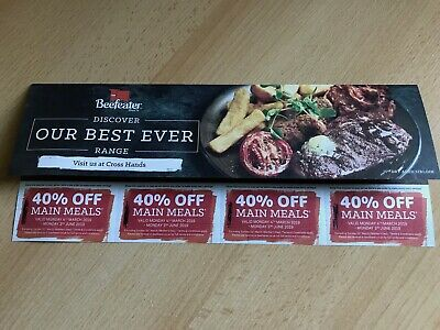 8 BEEFEATER VOUCHERS - 4th March 2019 - 3rd June 2019
