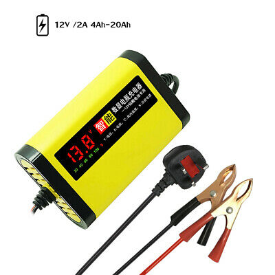 Car Motorcycle Battery Charger 12V 2A Automatic 3 Stages Lead Acid AGM GEL E7N5