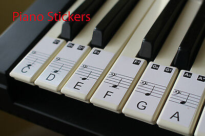 Music Keyboard or Piano Stickers 61 KEY SET removable white LAMINATED stickers