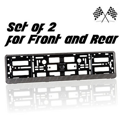 2 x Carbon Effect Number Plate Surrounds Holder Frame Bracket for Car Tuning