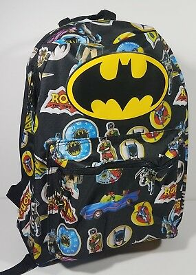 4bcf26dd19f6 NWT Batman   Robin retro logo DC Comics black backpack school book bag