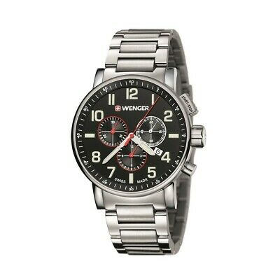 Wenger Mens Attitude Stainless Steel Chronograph - Black Dial - Date Window