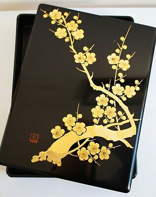 Authentic Japanese Wooden Aizu Lacquered Box - Cherry Blossom