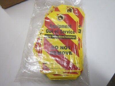NEW Pack of 25 Equipment Out of Service Tags Lockout Tagout Red / Yellow Stripe