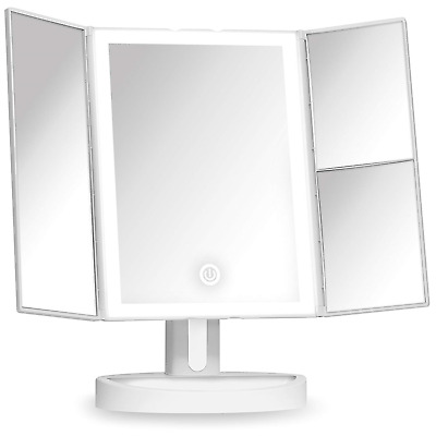 Fancii Trifold Vanity Mirror with LED Lights, Lighted Makeup Mirror with 5x & -