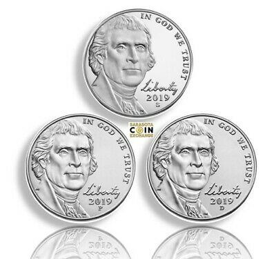 2019 S,P,D Jefferson Nickels S Proof and P,D BU all 3 Presale