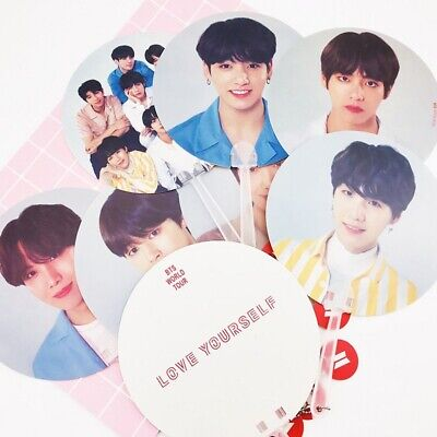 KPOP BTS WORLD TOUR'LOVE YOURSELF'Concert Good Hand Fan RM SUGA JK Small Fans