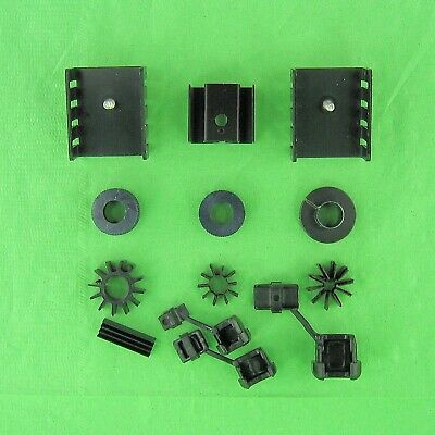 10 Assorted Aluminum Heat Sinks TO-220 T-05 & Other Cable Strain Reliefs 3 Sizes