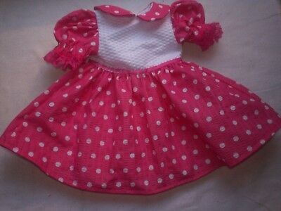 "American Made 18"" Girl Doll Clothes-White Dots on Pink Puffed Sleeve Dress 2"