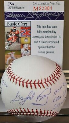 bd5bd610bfd Gaylord Perry Autographed Major League Stat Baseball With 6 Inscrip Hof 91  Jsa