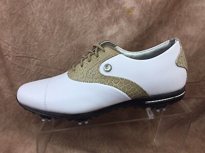 FootJoy Womens Tailored Collection Golf Shoes 91655-White Cream Croc Sz 8 M 1a9c8cc8427