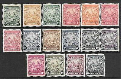 Pre Dec,Caribbean,Barbados,1938 Complete set of 16,SG248-256,MH,CV£50+,#2307
