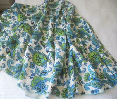 Vintage 1960S 1970's Lg Round Linen Cotton Table Cloth Blue Green Flower Power