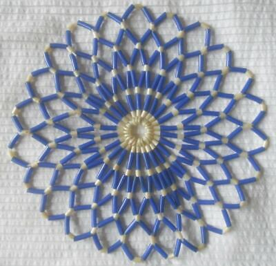 Vintage 1950S Round Blue & Pearl Plastic Beaded Mat Doily