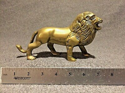 Collectible Handmade Carving Statue Copper Brass Lion Deco Art