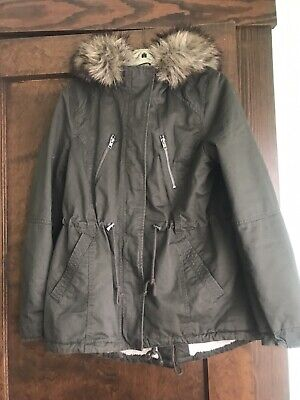 size 40 6d208 5e129 H&M DIVIDED WOMEN'S Army Green Parka Jacket With Fur-trimmed Hood Sz. 10  NWOT
