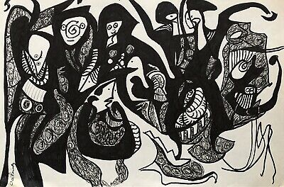 """Carol Pinsky Ink Drawing On Paper 12""""x18"""" Signed And Dated -Abstract Mid Century"""