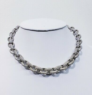 Rolo Diamonds 14Kt White Gold Chain 46Ct Vvs1 Clarity Crystals Finest Quality