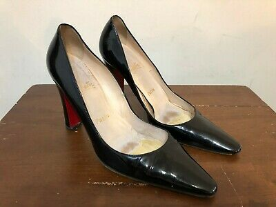 21ce0af9172 CHRISTIAN LOUBOUTIN SHOES Heels Black Patent Leather Red Pumps Sz 39.5 US  9.5