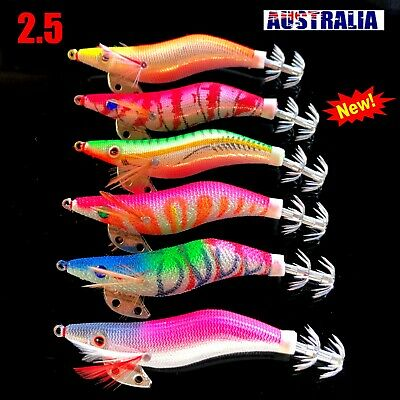 6 SQUID JIGS LURE 2.5 EGI GLOW TAIL Tackle Calamari Squid Jig Fishing Lures