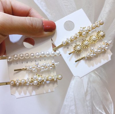 3Pcs New Girls Women Pearl Flower Hair Clips Set Elegant Bobby Pin Hair Clip