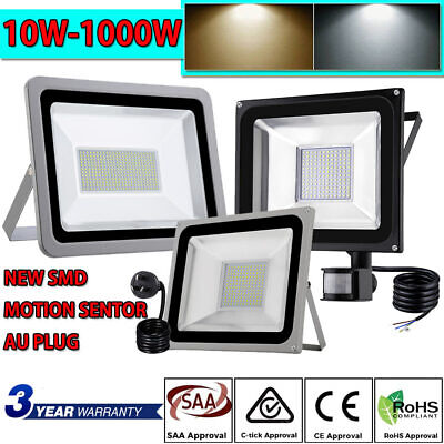 10W-1000W LED Flood Light SMD/PIR Motion Sensor/AU Plug IP65 Security Yard Lamp