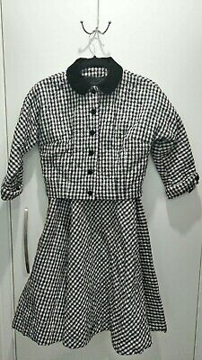 Vintage Quilted Gingham 1940's Two Peice Jacket And Skirt Set