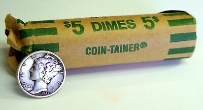 Lot of 50 in a Roll Mercury Dimes Mixed dates and Mixed Mint Marks 90% Silver