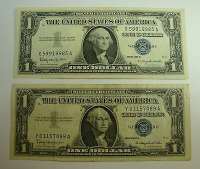 Lot of Two 1957 Silver Certificate Blue Seal One Dollar Bill Excellent Condition