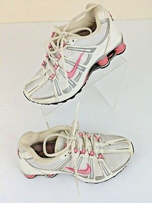 NIKE SHOX Womens Fitness Running Shoes Silver White Pink Size 7.5 EUR 38.5  2004 034f75e5d