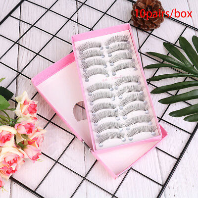 10 Pairs/set Long Black Eye Lashes False Eyelashes Makeup Natural Fake Thick 9H