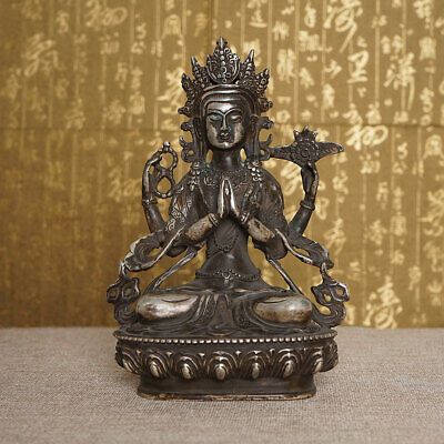Antique Nepal Buddha Statues Bronze Boutique Guanyin Religion Sculpture Blessing