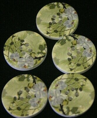 5 White Orchid Green Background - Wooden Buttons - Sewing,Craft,Scrapbooking