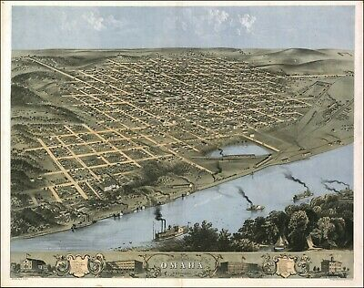 1868 OMAHA NEBRASKA DOUGLAS panoramic map GENEALOGY poster NE5