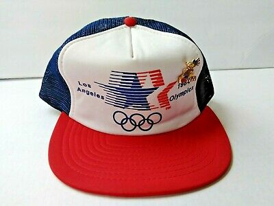b73bf6874a9 VINTAGE 1984 USA Olympics Los Angeles Mesh Trucker Snap Back Hat ...