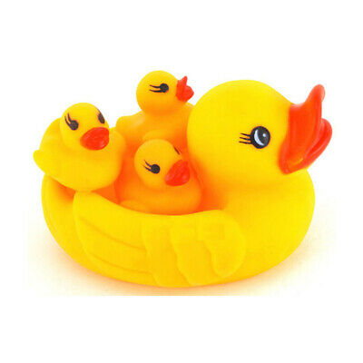 4PCS Baby Bath Toy Squeeze-Souding Dabbling Swimming Duck Soft Float Rubber Duck